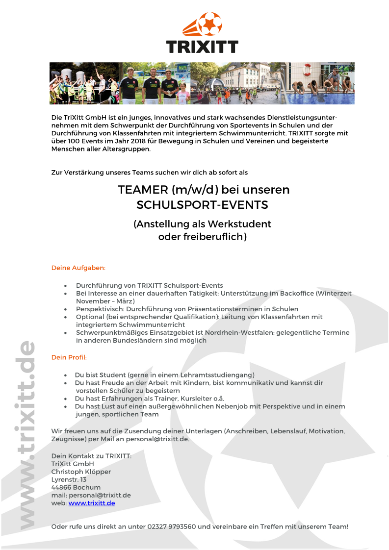 Ausschreibung Teamer TRIXITT Schulsport-Event