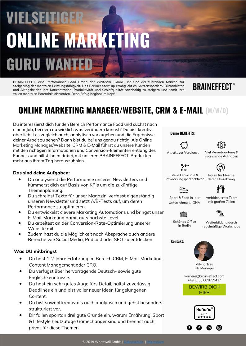 3 Online Marketing Manager _ Website CRM  E-Mail Ausschreibung