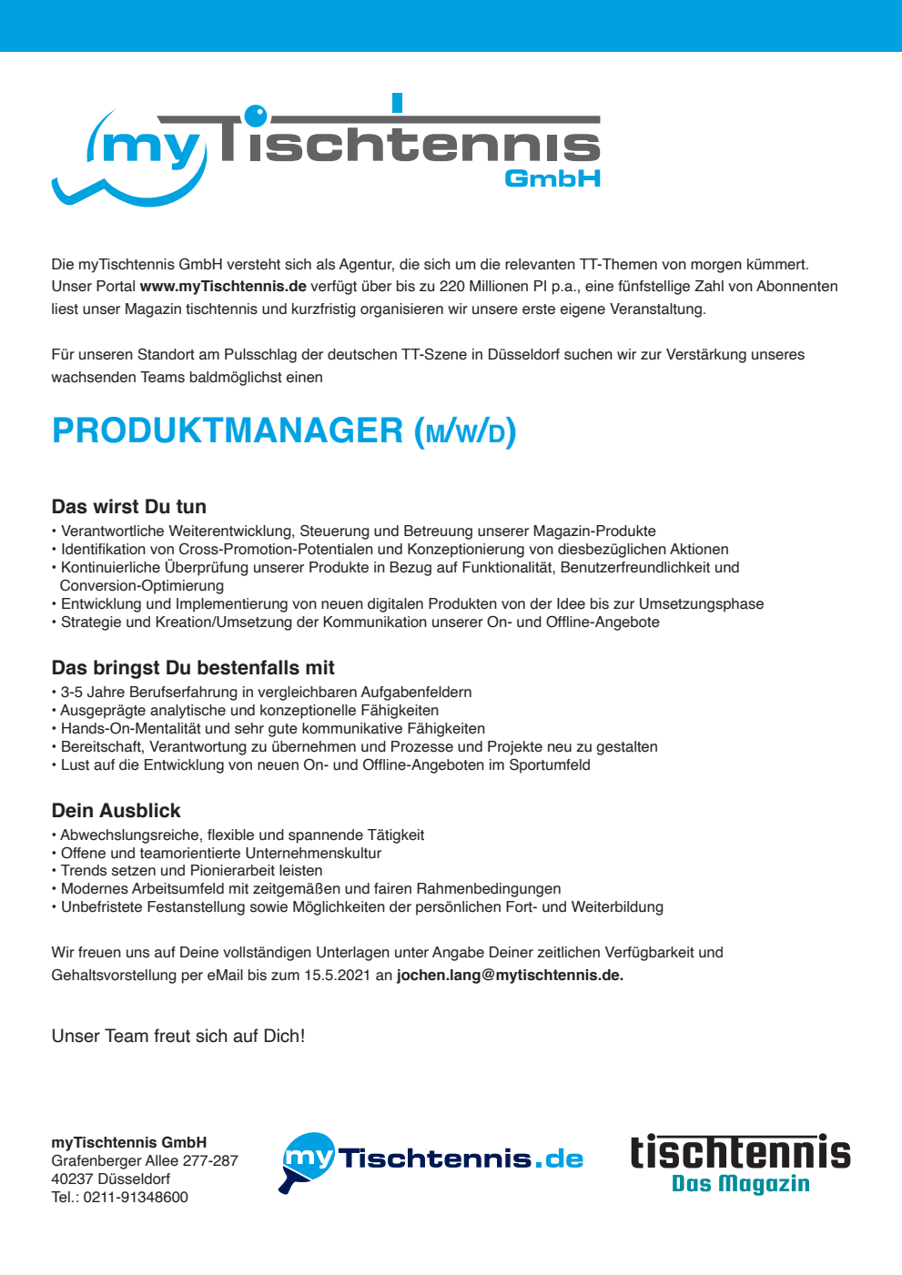 Stellenausschreibung Produktmanager Magazin